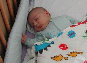 אייל בן חודש וחצי, ישן בלול