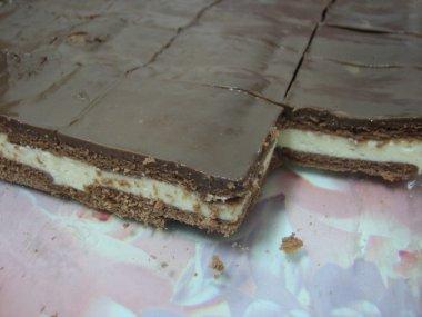 עוגת גבינה וביסקוויטים בציפוי שוקולד