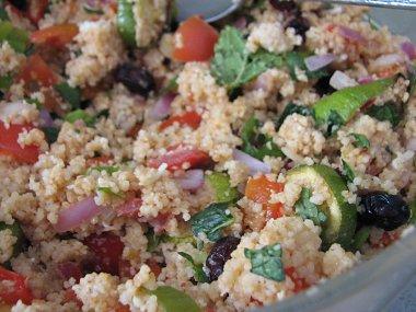 סלט קוסקוס, ירקות קלויים ונענע