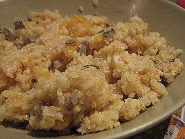 תבשיל דגנים, משמשים מיובשים וגרעיני דלעת